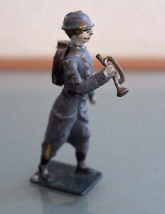 Soldier Old Lead CBG Mignot Army French Bugle to the / Of Parade