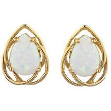 14Kt Gold Opal Pear Teardrop Design Stud Earrings