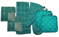 Kitchen Accessory Set Towel Dish Cloth Scrubbie Pot Holder Oven Mitt Teal