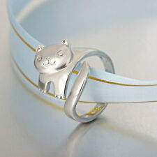 Women Design Korean Children Opening Adjustable Jewelry Cat Ring Silver Plated
