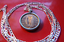 "IRISH FARTHING COPPER COIN PENDANT on a 30"" 925 STERLING SILVER Chain"