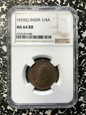 1929(c) India 1/4 Anna NGC MS64 Red Brown Lot#PJ424 Choice UNC!