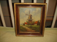 Vintage Oil Painting On Board-Windmill Country-Signed Vow Wilgen-NuMold Creation