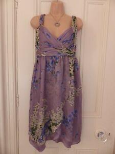Lovely lilac floral wrap style silk dress Zara Woman size M, blue yellow floral