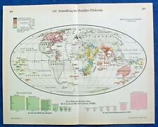 Antique 1931 DEVELOPMENT OF THE BRITISH EMPIRE WORLD Geographic map Lithography