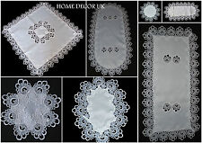 Lace white Victorian style tablecloth table runner doily oval square rectangular