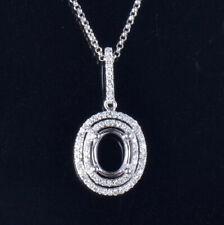 Oval Cut 6×8mm 2 Circle Natural Diamond Semi Mount Pendant Solid 14K White Gold