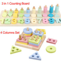 Wooden Shape Toys Montessori Math Toys Counting Board Preschool Learning Gifts