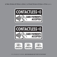 5 x Contactless Card Payments Accepted Stickers Sign Taxi Mini Cab - SKU3145