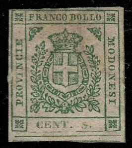 Modena 1859 SG18 5c Green MH OG CV £1,700 Scott #10 Scarce
