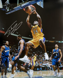 Shaquille O'Neal Signed L.A. Lakers 16x20 Dunk Photo BAS ITP