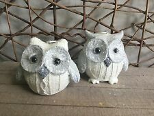 Heaven sends white resin knitted effect owl Christmas decorations set of 2