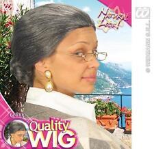 Ladies Dark Grey Nan Wig With Bob Old Woman Gran Grandma Fancy Dress