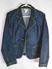 Talbots Petites Stretch Blue Denim Blazer Jacket One Button Size 6