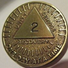 Alcoholics Anonymous AA 2 Year Month Sunshine Bronze Medallion Chip Token Sober