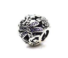 Lochmuster Lila Libellen Anhänger Perle Sterling Silber Mit Cubic Zirkonia UK