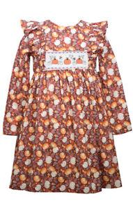 Bonnie Jean Thanksgiving Pumpkin Orange Smocked Pumpkin Girls' Dress 0-24 Months