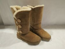 UGGS TAN SUEDE FUR LINED SIDE BAILEY BUTTON MID  CALF BOOTS WOMENS W7 RARE