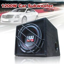 10'' Inch 1200W Active Amplified Car Subwoofer Audio Sub Box Enclosure+Wire Kit