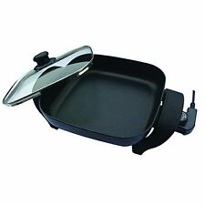 Electric Skillet 8 Inch Deep Interior Adjustable Temperature Nonstick Glass Lid
