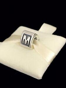 Pandora Letter M Block Alphabet Initial Charm Silver S925 ALE + Box 790323M