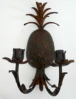 """Vintage Pineapple Wall Sconce two arms for 2 Candle Holder Metal 15"""""""