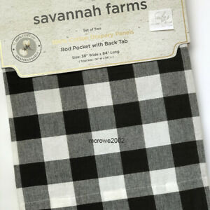 Savannah BUFFALO PLAID Farmhouse Window CURTAIN Panels Check Black Ivory ROD 84""