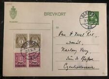 1936 Bergen Norway Postal Stationary Postcard Cover To Czechoslovakia