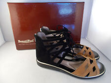 BeautiFeel Yuli Black/Saddle Suede Gladiator Sandals Women's Size 7-7.5 US NIB