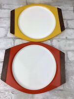 Vintage NEW MAR Woodhue Thermoware Plastic Plate Set Orange and Yellow