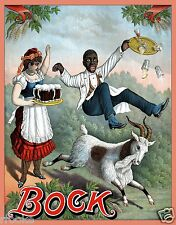 Vintage Bock Beer Ad Black Americana Liquor Alcohol Fine Art Print / Poster