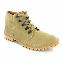 Roamers D-Ring Desert Boots Tread Mens Suede Leather Taupe Sand Shoes UK6-12