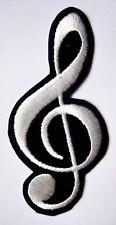 WHITE MUSICAL NOTATION MUSIC NOTE SIGN Embroidered Iron on Patch Free Postage