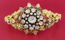 Victorian ROSE CUT DIAMOND RUBY YELLOW GOLD BANGLE BRACELET - Unique Gorgeous