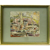 Original Abstract Woodland Landscape Watercolour Painting Cicely Osmond-Smith