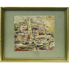 Original Abstract Woodland Paysage Aquarelle Cicely Osmond-Smith
