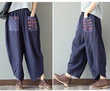 New Womens Harem Pants Cotton Linen Wide Leg Baggy Loose Ninth Trousers Retro UK