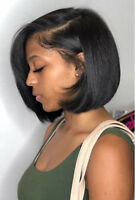Peruvian Virgin Human Hair Lace Front Short Straight Bob Full Wigs Black Wigs