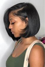 Brazilian Virgin Human Hair Lace Front Short Straight Bob Full Wigs Black Wigs
