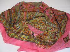 ❤️ MADE IN INDIA BNIP PINK GOLD SWIRLY PAISLEY PRINT XL PURE SILK SQUARE SCARF
