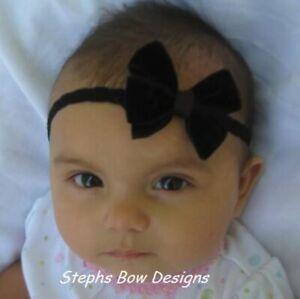 Black Velvet Dainty Hair Bow Headband 4 Preemie Newborn Baby Toddler Christmas