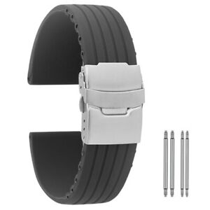 Silicone Military Watch Band Black Four-Stripe Folding Safety Buckle Wristband