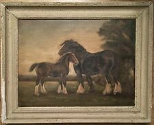Hv Lago Original Vintage Aceite Enmarcado Firmado Sobre Tela Shire Horse Con Potro