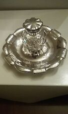 Very Heavy Sterling Silver Victorian Inkwell and Stand-Hallmarked
