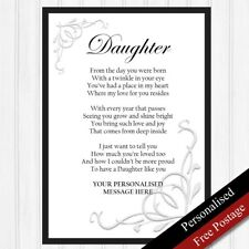 Daughter Gift. Personalised Birthday Gift for Daughter. Keepsake PRINT ONLY Poem