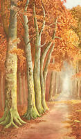 Mid 20th Century Watercolour - Autumnal Forest Path