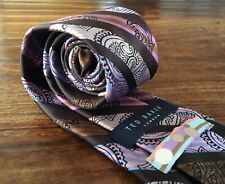 Mens Ted Baker London Striped Paisley Neck Tie Made In USA