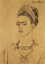 Amazing Rare Frida Kahlo signed Original Pencil Drawing w COA, Diego Rivera era