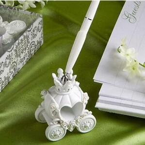 Resin Pumpkin Carriage Shape Wedding Pen Set & Holder Party Supplies Decor