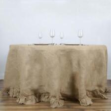 "120"" Round Ruffled Rustic Burlap Tablecloth - Natural Tone"
